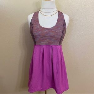 Lululemon purple striped razor back tank top size8